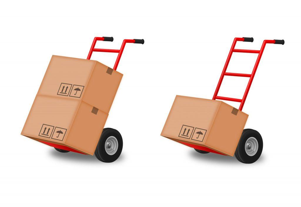 Carrinho para transporte de caixas_tipos